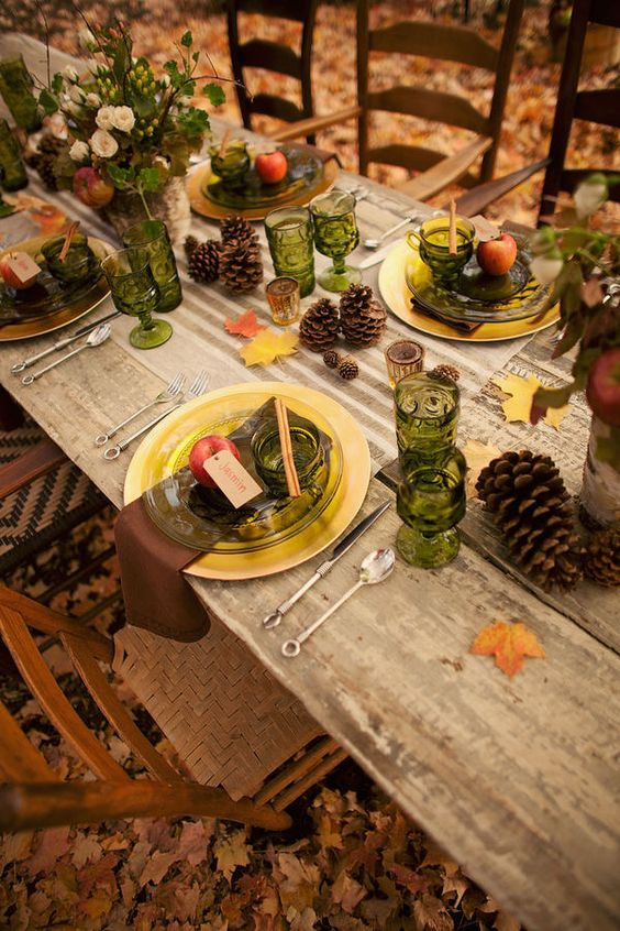 .autumn table: Table Settings, Table Decoration, Pine Cones, Autumn Tablescape, Fall Wedding