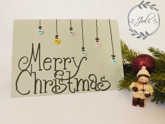 DIY Weihnachtskarte mit Knöpfen - Juli näht