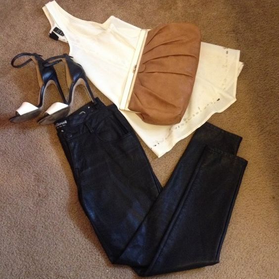 Faux leather pants Size 9 Cute faux leather pants, can wear it with a nice sheer top, high heels and a leather motorcycle jacket. Bring the badass sexy chick out of you!  Dollhouse Pants Skinny