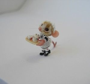 Miniature 20mm Mouse Girl with Teapot Tray Doll House Bear OOAK by EBE | eBay: