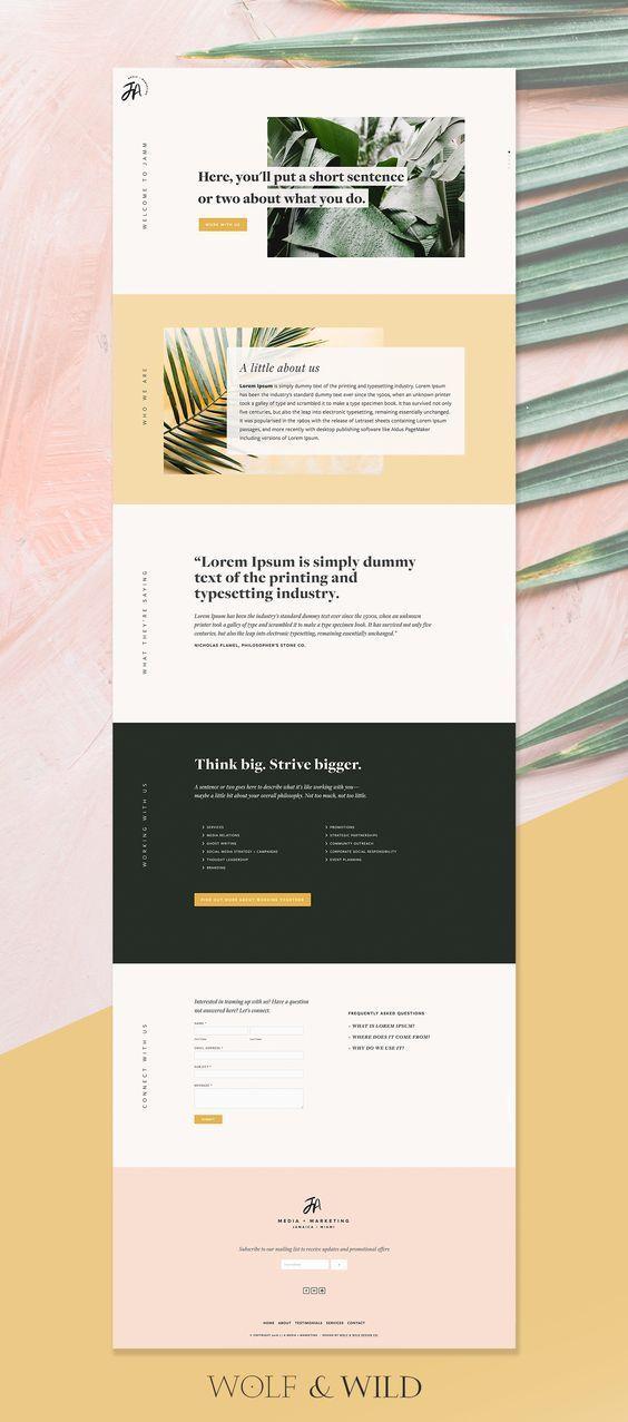Website Design Using Subtitles Vertically To Title Each Section Inspiracao Web Design Web Minimalista Web Design