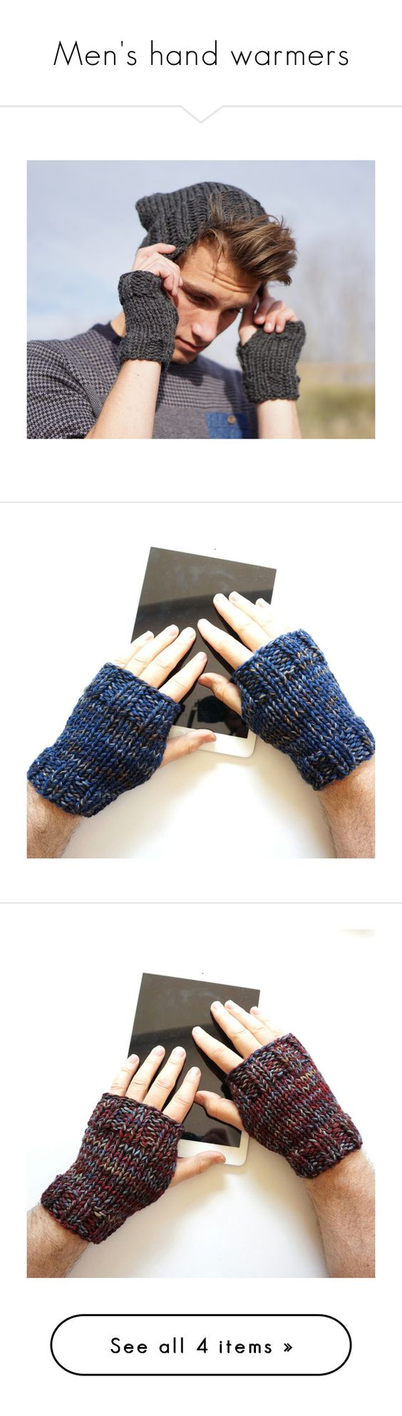 Fingerless leather gloves mens accessories -  Men S Hand Warmers By Valeriebaberdesigns Liked On Polyvore Featuring Men S Fashion Men S Accessories Men S Gloves Mens Gray Leather Gloves