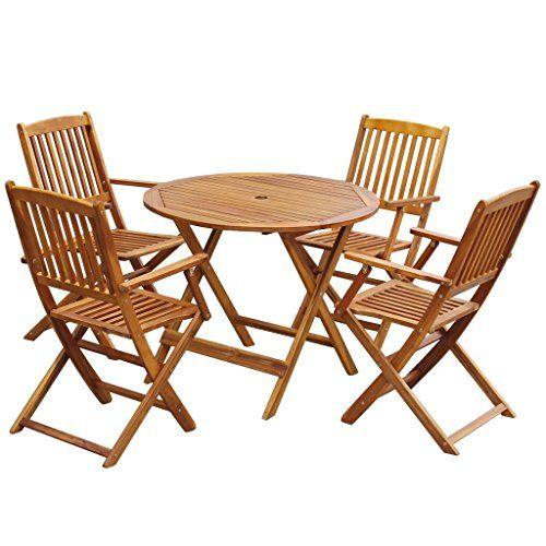 Mewmewcat 5 Pcs Set De Table Chaises Mobilier De Jardin Pliable En Bois D Acacia Ron Table De Jardin Ronde Meubles De Jardin En Bois Table Et Chaises De Jardin