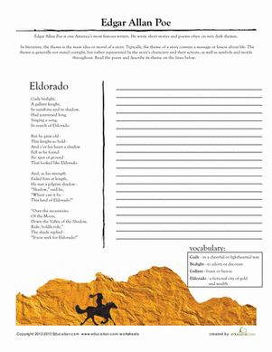 Worksheet Poetry Worksheets High School comprehension poetry and worksheets on pinterest middle school high literary analysis edgar allan poe eldorado