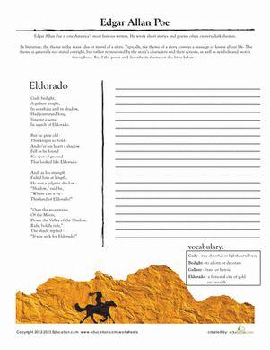 Worksheet Poetry Worksheets High School comprehension poetry and worksheets on pinterest middle school high literary analysis edgar allan poe eldorado