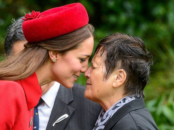 Britain's Princess Catherine, Duchess of Cambridge, receives a traditional greeting from Maori elder Hiria Hape on April 7 at Government House, in Wellington, New Zealand.