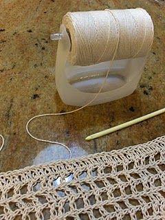 soap bottle bottom spool holder: because reeling off yarn/string/thread won't change the amount of twist like unwinding can!: