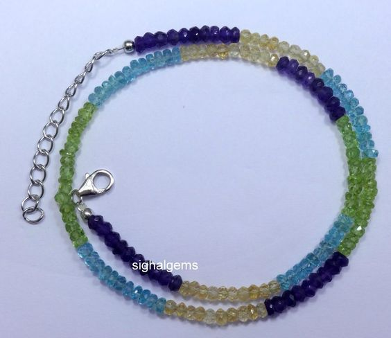 925sterling silver nacklace handmade multicolour gemstone  52ct natural roundles…