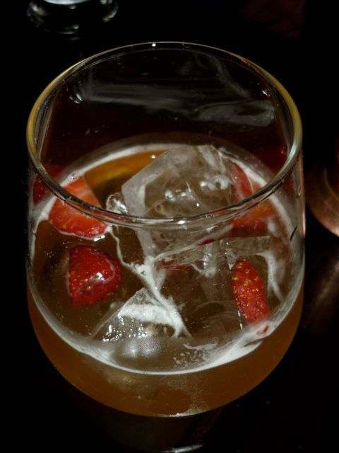 —Talister 10 scotch with Amaretto, strawberry liqueur, and lemon juice. It smelt lethal but tasted amazing.