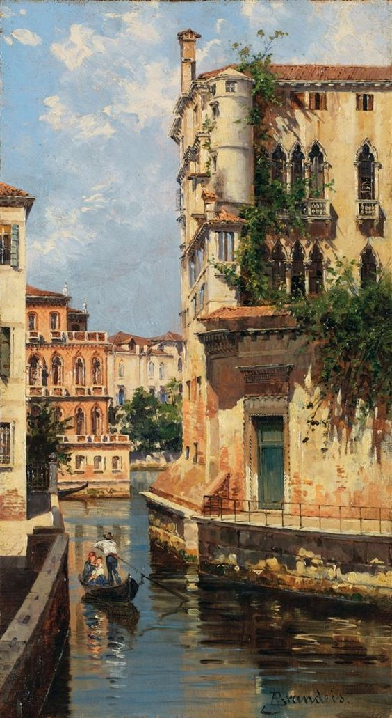 Antonietta Brandeis (It, 1848-1926) - Vue du Palazzo Albrizzi - Oil on panel 10 1/4 x 5 7/8 in