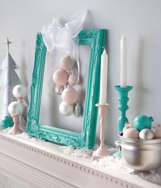 Contemporary Christmas DIY Mantel - like the idea but add in Christmas colors and gold