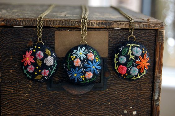 Embroidered Necklace Flower Embroidery Botanical by harperandfinch
