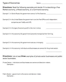 Types of Economies & Private vs. Public Sector Worksheet | Free ...
