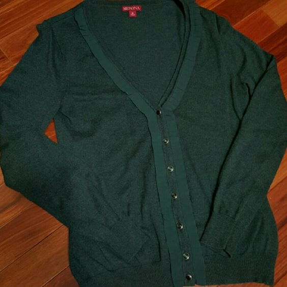 Merona Sweater Forest green cardigan. Long sleeve, ruffled front with black buttons. Worn just a few times. Bundle to save on shipping! Merona Sweaters Cardigans