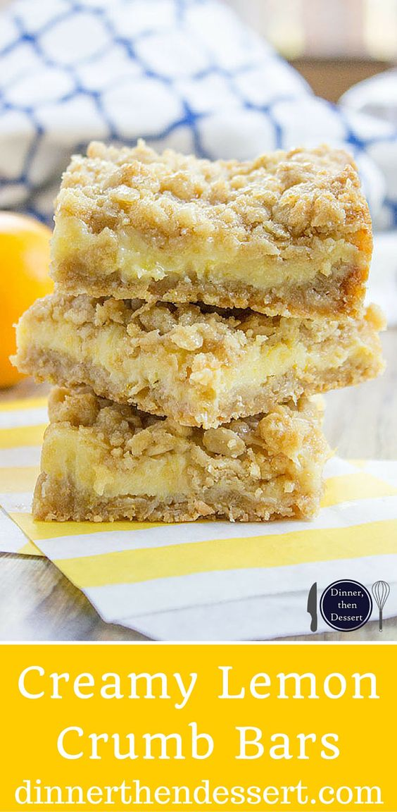 Easy Creamy Lemon Crumb Bars with a quick oatmeal crumb base and a ...
