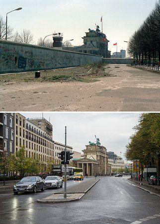 Mit Und Ohne Die Bildkombo Zeigt Die Von Westlicher Seite In Der Nahe Vom Reichstag Fotografierte Mauer Zwischen Scheidemannst Berlin Geschichte Berliner Mauer