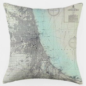 """Made-to-order, 15""""x15"""" map pillow cover (pictured: Chicago Lake Front)  $42"""