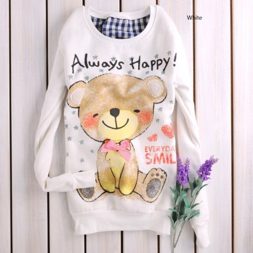 Girls Cute Smily Bear Cartoon Cotton white top sweatshirt US normal size M OR03