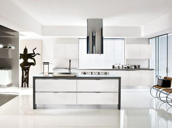Cucina lineare moderna con penisola centrale bianco lucido e ...