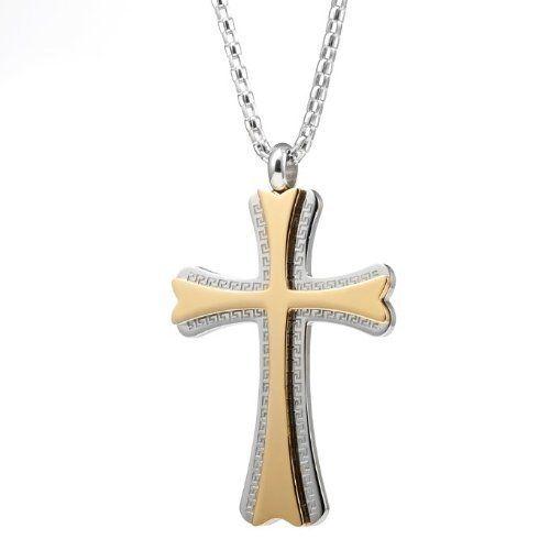 R&B Schmuck Herren Anhänger Edelstahl - Beeindruckender Griechischer Kreuz Anhänger an Kette (Silber, Gold): 20,90€
