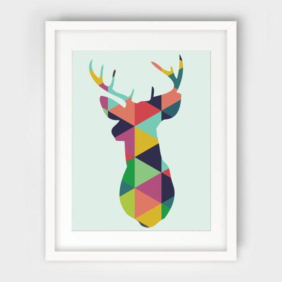 Geometric Purple Deer Wall Art Print Modern Poster Buck: Wall Prints, Deer Silhouette And Modern On Pinterest