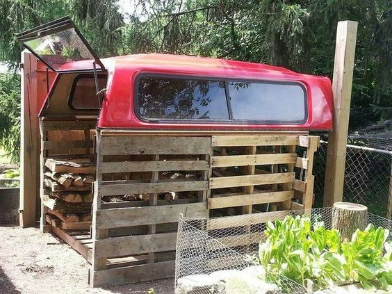 Redneck firewood storage. Recycled pallets for the walls and floor. Old truck ca...#firewood #floor #pallets #recycled #redneck #storage #truck #walls