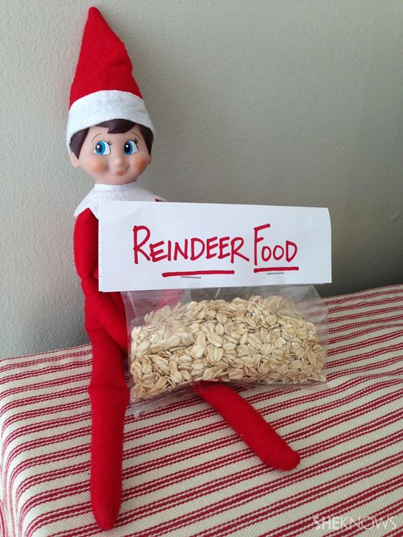 """elf with reindeer food (oatmeal mixed with glitter) for kids to sprinkle on lawn attach cute poem so they know what to do .............Sprinkle on the lawn at night. The moon will make it sparkle bright. As Santa's reindeer fly and roam, This will guide them to your home!"""""""