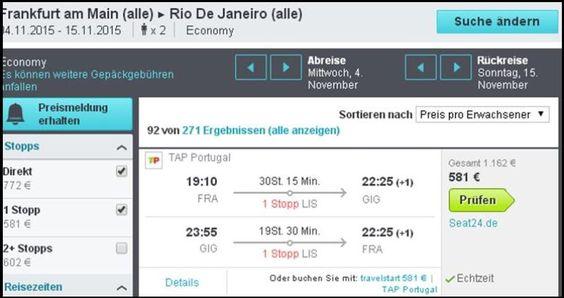 TAP PORTUGAL FLUG VON FRANKFURT NACH RIO IM NOVEMBER- DEZEMBER 2015 für 581 Euro