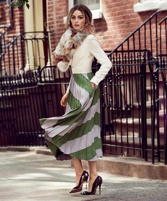 tendencias-primavera-olivia-palermo-falda-midi. Tendencias primavera 2019: faldas midi