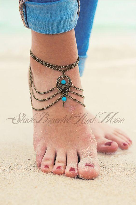 Chaîne de cheville argent turquoise perlée par SlaveBraceletAndMore