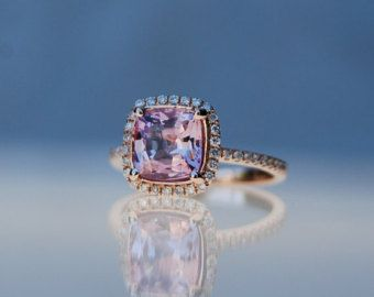 1.63ct Square Cushion Peach Pink Champagne Sapphire 14k rose gold diamond  Engagement Ring