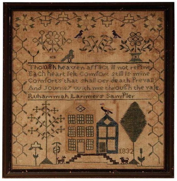 "Possibly Pennsylvania or New Jersey, signed ""Ruhammah Larimer's Sampler 1832"