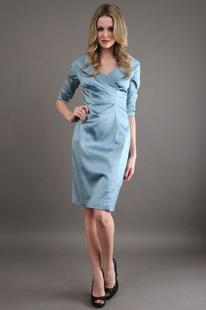 Mother of the Bride Dress - The Shawl Collar Dress in Misty Blue ...