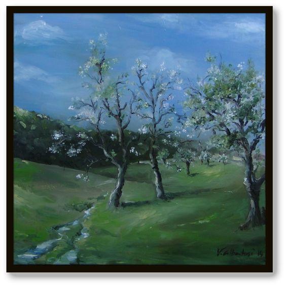 Tableau peinture Boisemont champs printemps Valérie Albertosi mini