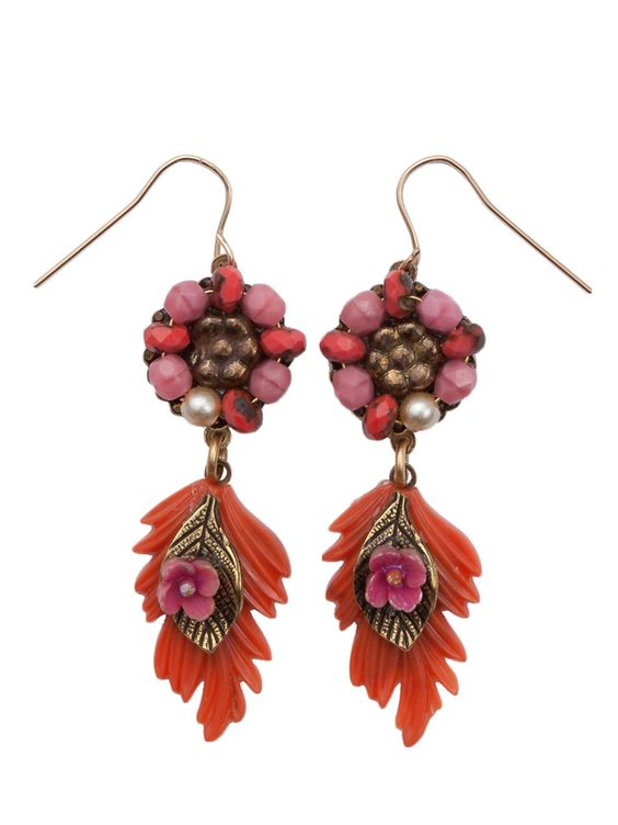 Sunset colors of coral and pink inspire this feathered drop earring.   Czech glass beads form the center of the top flower with petals of faux pearl and glass beads.  A feathery-shaped resin leaf dangles with an antiqued top leaf adorned with a small pink flower.