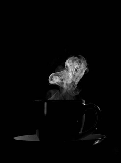 """black as the night"" how i like my coffee the steam seems so... spirited tonight"