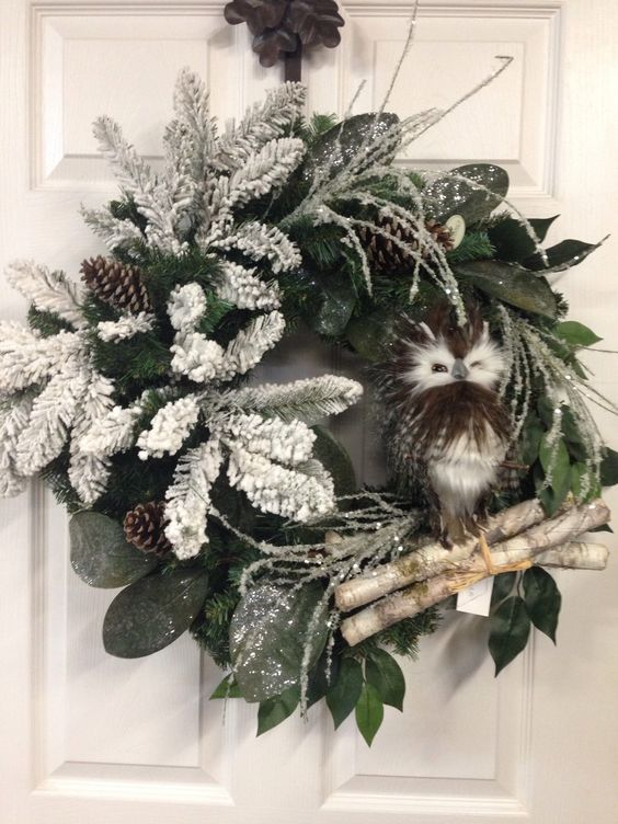 A personal favorite from my Etsy shop https://www.etsy.com/listing/259407820/owl-wreath-rustic-wreath-christmas