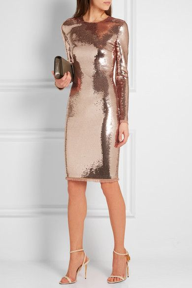 Rose gold sequined tulle Concealed hook and zip fastening at back 84% polyamide, 16% elastane; trim: 66% acetate, 34% viscose Dry clean Made in Italy As seen in THE EDIT magazine