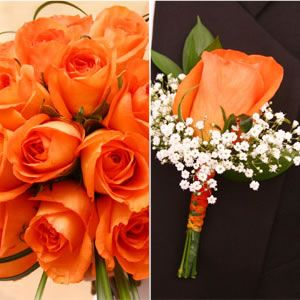 Orange rose bouquets for bridesmaids @Tina Paxton and for the groomsmen and ushers