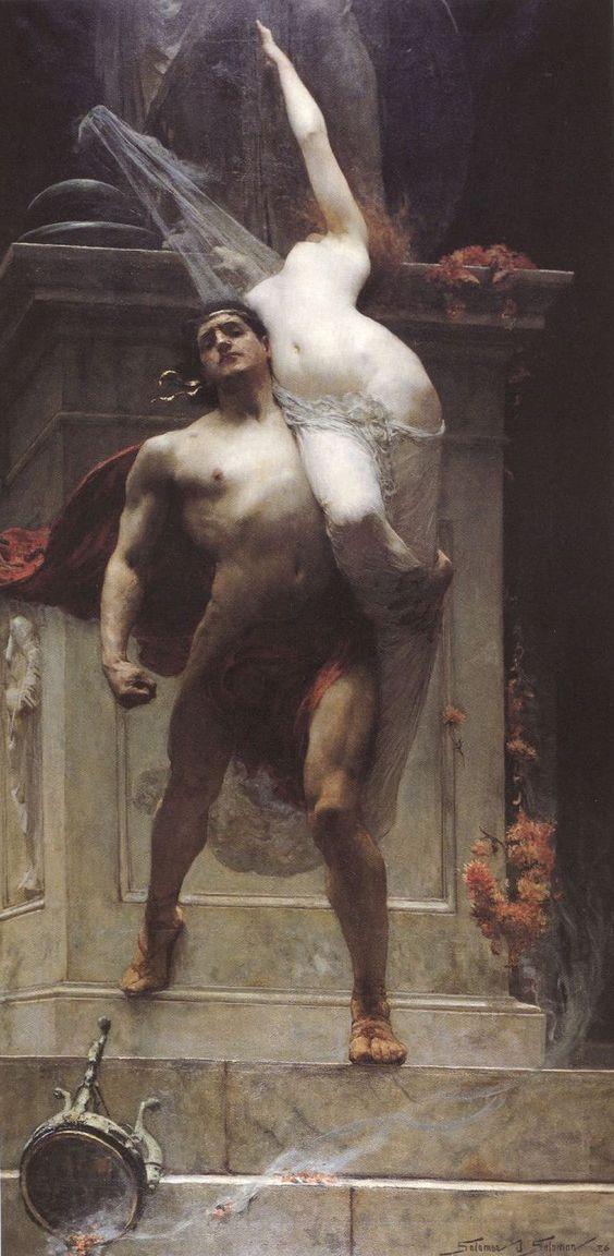 The rape of Cassandra by Ajax in Greek mythology, painting by Solomon Joseph Solomon.