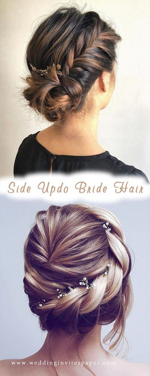 46 Unforgettable Wedding Hairstyles For Long Hair 2019 Elegant Updo Hairstyle With Side Braids Medium L Beautiful Wedding Hair Long Hair Styles Elegant Updo