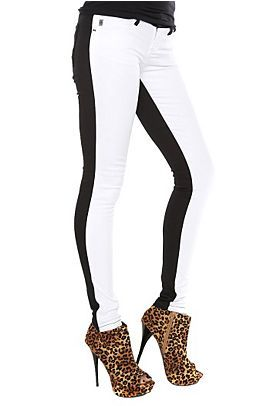 Tripp white front black back skinny jeans - Hot topic