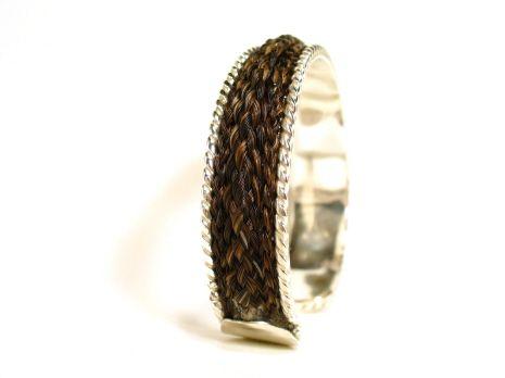 Solenaro Designs custom made horse hair equestrian jewelry Cavason Style Rope Edged Cuff Bracelet