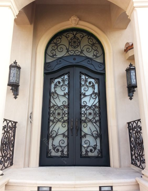 Denver Wrought Iron Door With Custom Top And Round Transom Call