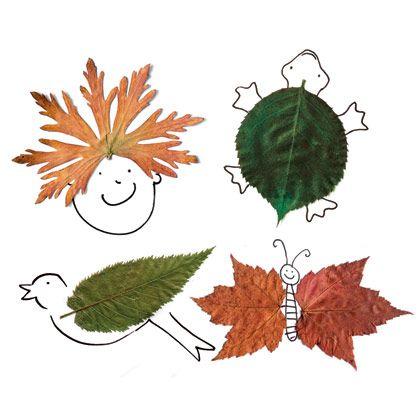 Manualidades de Otoño: hojas secas, un poco de pegamento, algún rotulador y mucha imaginación. Las posibilidades son múltiples!. Visto en el blog de Mamás Creativas.