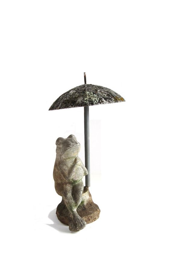 Reserved Vintage Cement Concrete Courting Frog On Bench