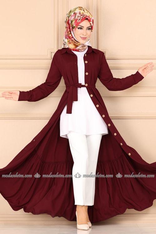 Modaselvim Elbise Etegi Kat Kat Elbise Ferace 1021bg354 Bordo Abayas Fashion Hijab Fashionista Fashion