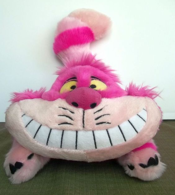 Cheshire Cat Plush Alice in Wonderland Disney Store 19 inches Pink Striped #Disney