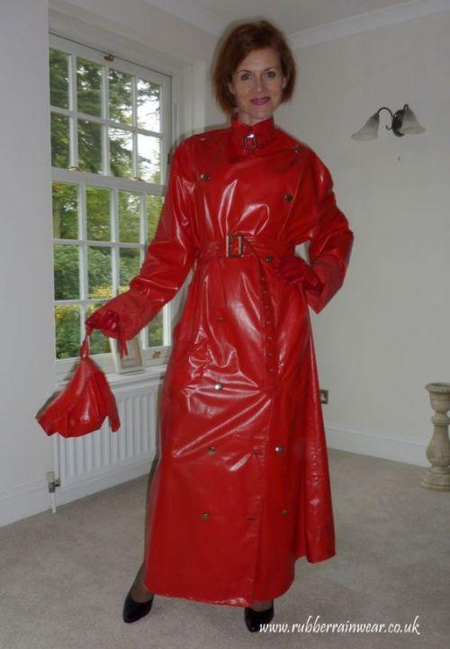 Another splendid red PVC mac | Rainwear in 2019 | Rain wear