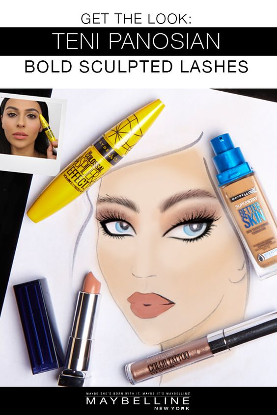 "Recreate beauty influencer Teni Panosian's bold sculpted lashes from her Maybelline shoot with Cosmopolitan. To get the look follow these simple steps. Apply Color Tattoo Eye Chrome shadow in 'Beige Luster' for a metallic eye. To make your eyes pop and achieve the celeb inspire lash look apply Spider Mascara.  For a fresh face and all day flawless coverage use Better Skin Foundation. Top off your look with Loaded Bolds lipstick in ""Nude Thrill"" for a nude lip. This look is perfect for an…"